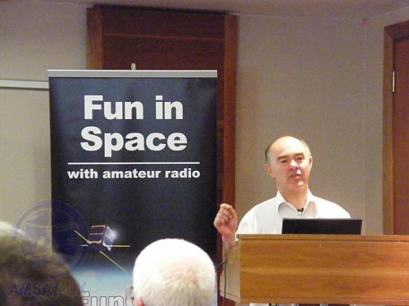 Professor Sir Martin Sweeting G3YJO opening the AMSAT-UK Colloquium
