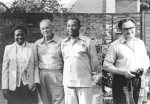 From left to right - Partner of TR8BL, Luciano TR8BL, Gabon Ambassador to the U.K., Ron Broadbent G3AAJ, Secretary of AMSAT-UK.Photo taken in garden of G3AAJ in London.
