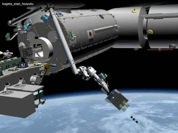 Artists impression of Kibo Robot Arm CubeSat Deployment