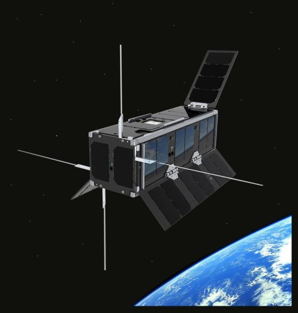 Artists impression of UKube-1 in orbit