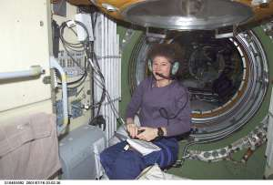 Astronaut Susan Helms KC7NHZ having a contact