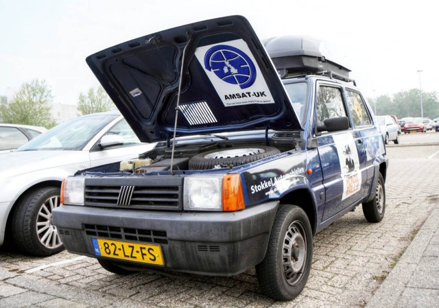 The Uncertainly Principle 1.1 litre Fiat Panda with AMSAT-UK Logo