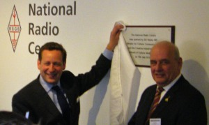 Ed Vaizey MP Unveiling the Plaque with RSGB President Dave Wilson M0OBW