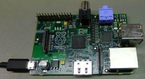 A Raspberry Pi computer board