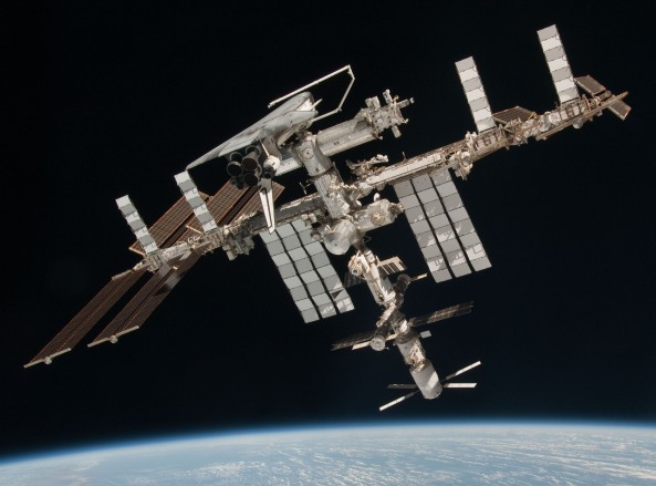 International Space Station ISS with shuttle Endeavour 2011-05-23 - Credit NASA