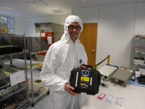 Steve Greenland of Clyde Space receives the AMSAT-UK FUNcube-2 boards that will be incorporated into UKube-1