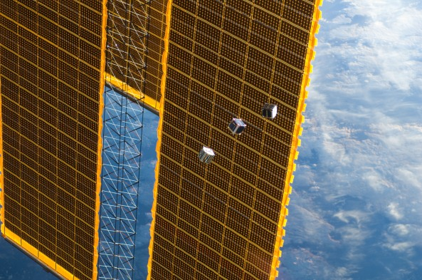 Amateur Radio CubeSats TechEdSat, F-1 and FITSAT-1 pass the ISS solar panels