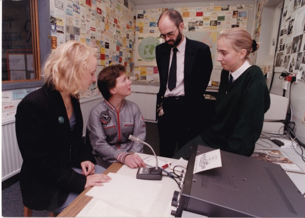 After her return to Earth the first UK astronaut Helen Sharman visited the Harrogate Ladies' College club station G0HCA From left to right are Anna-Karin G7IRR, Helen Sharman GB1MIR, Richard Horton G3XWH and Katy G7NST