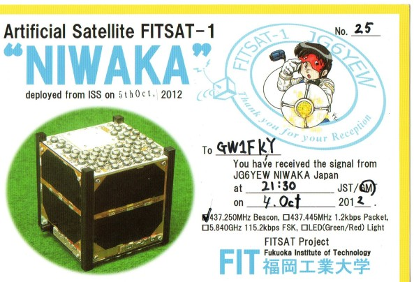 FITSAT-1 QSL card GW1FKY - Front