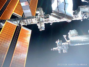 Image of ISS taken by the FITSAT-1 CubeSat after deployment
