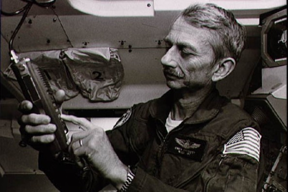 Owen Garriott W5LFL operating amateur radio on space shuttle mission STS-9