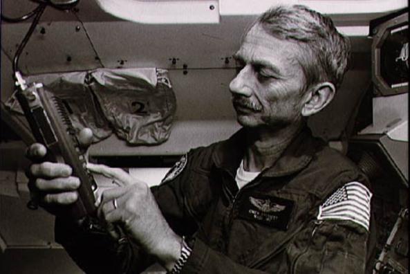 Owen Garriott W5LFL operating amateur radio on space shuttle mission STS-9