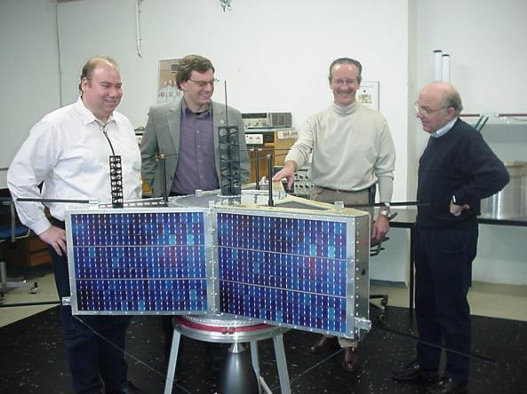 The next AMSAT Phase 3 satellite - Arianespace visit in Marburg (P3-E with flight antennas, but dummy solar panels)