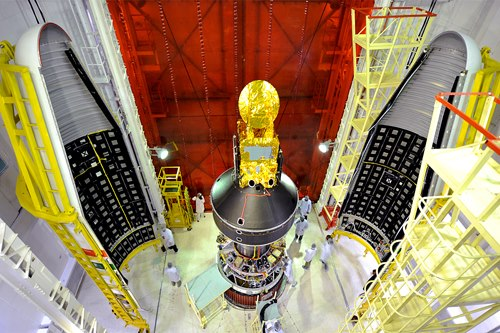 Panoramic view of SARAL and smaller satellites including STRaND-1 attached to the PSLV C20 - Image credit ISRO