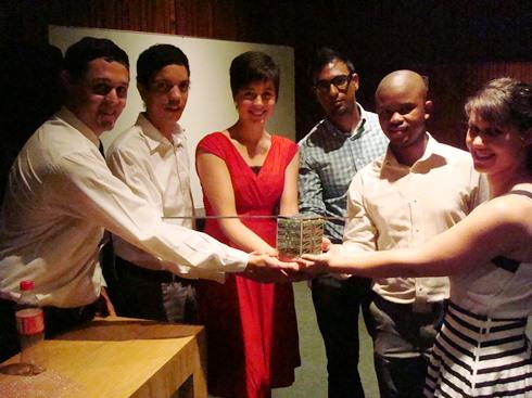 DynaCube Project Team leaders (L-R) Rick Botha, Jean-Paul Appel, Esabe Brink, Yoshlyn Naidoo ZS6YOG, Motheo Motlhabane, Yolandi Young - Image Credit Denel Dynamics