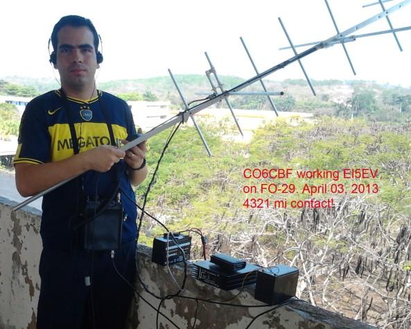 Hector CO6CBF working Joe EI5EV on FO-29  2013-04-03 1440z