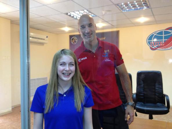 Abby Harrison with astronaut Luca Parmitano KF5KDP who is in quarantine - Credit Astronaut Abby