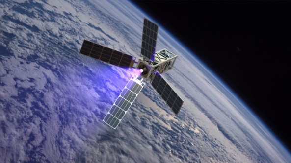 Artists impression of the CubeSat Ambipolar Thruster (CAT) satellite