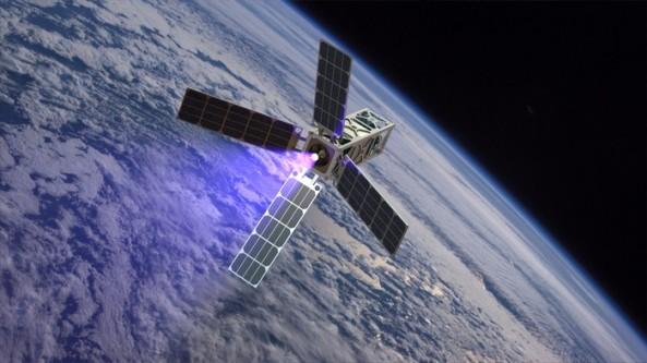 Artists impression of the CubeSat Ambipolar Thruster (CAT) satellite