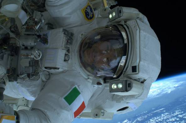 Luca Parmitano KF5KDP on the Expedition 36 EVA, July 9, 2013- Image credit ESA