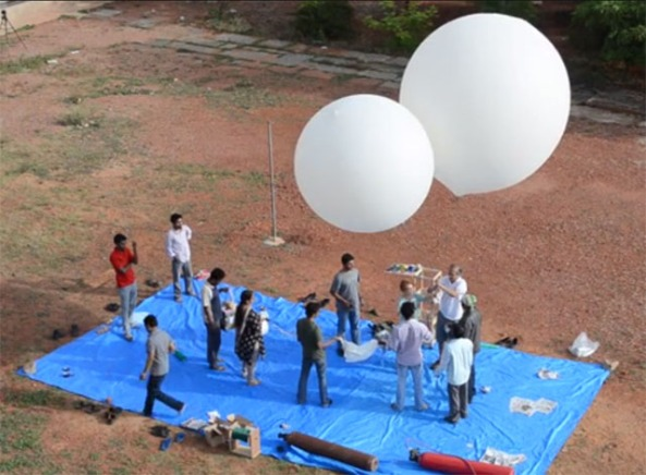 A high altitude balloon launch - Image credit Dhruva Space