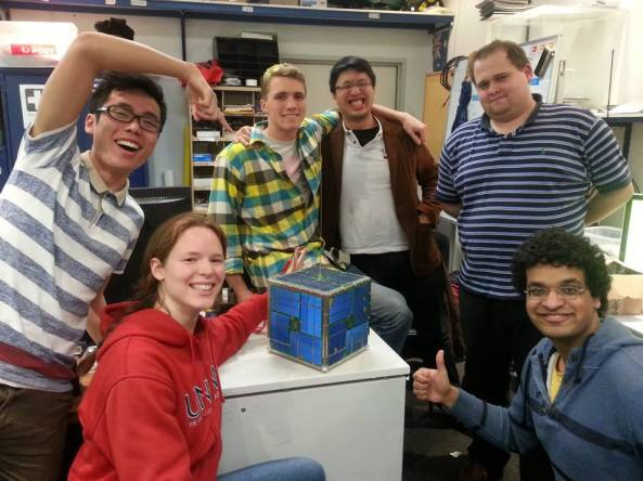BLUEsat with some of the team members.  From left to right are Chun-kan Leung, Anne Gwynne-Robson, John Aiden Rohde, Thieñ Ñguyeñ, Daniel Jedrychowski and Varun Nayyar - Image credit UNSW