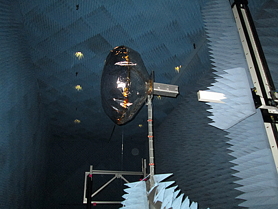 CubeSat equipped with an inflated antenna, in a NASA radiation chamber - Image credit Alessandra Babuscia