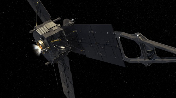 This computer-generated image depicts NASA's Juno spacecraft firing its Leros-1b main engine - credit NASA