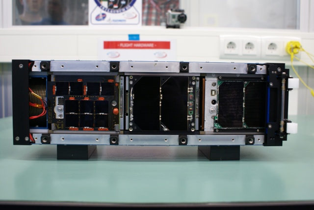 ZACUBE-1, FUNcube-1 and HiNCube in the deployment pod - Image credit Wouter Weggelaar PA3WEG