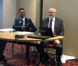 Ofcom's Ash Gohil and Paul Jarvis G8RMM at 2013 RSGB Convention