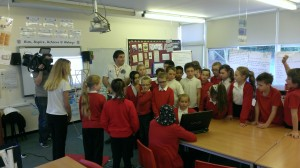 Ciaran Morgan M0XTD and BBC crew at Abbeys Primary School in Bletchley