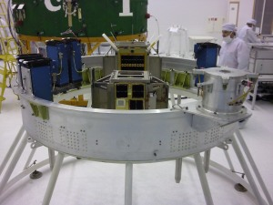 CubeSat deployment pods mounted on lower ring