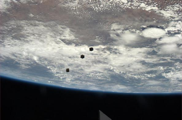 ISS CubeSats a few minutes after deployment
