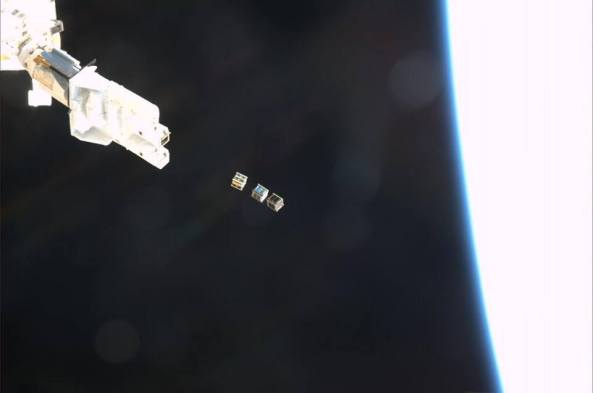 ISS CubeSats Deploying