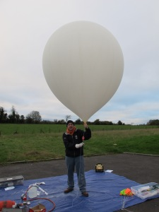 Archive Image - Ali Al-Azzawi M0PSI with a balloon - Credit Dave Akerman M6RPI
