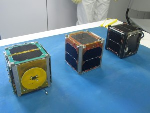 CubeSats PUCP-SAT-1 Peru - ICUBE-1 Pakistan - HUMSat-D Spain - Credit Pontificia Universidad Católica del Perú