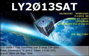 LY2013SAT QSL card received by Andy Thomas G0SFJ