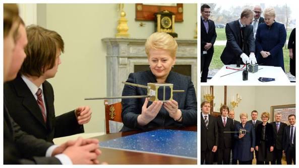Lithuanian President Dalia Grybauskaite with CubeSat