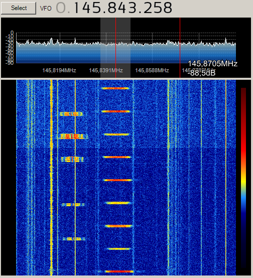 SDR image of the LitSat-1 beacon taken by Dmitry Pashkov UB4UAD