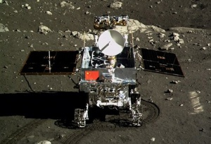 Jade Rabbit (Yutu) rover on the lunar surface imaged by the Chang'e 3 lander