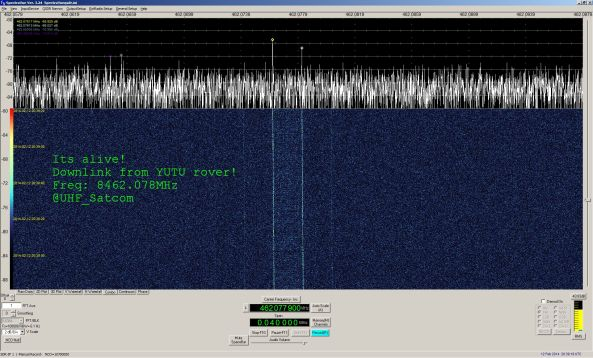 Jade Rabbit (Yutu) 8462.078 MHz signal received by Paul Marsh M0EYT February 12, 2014
