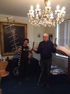Laurence de Bruxelle and Andy Thomas G0SFJ with KickSat ground station antennas