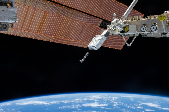 CubeSats being deployed from the ISS on February 11, 2014