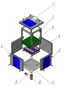PolyITAN-1 1 – Girder; 2 – Honeycomb panels of solar battery 5 units; 3 – Base (bottom plate); 4 – Solar cells; 5 – PCB units of the platform; 6 – Accumulators unit; 7 – GPS antenna; 8 – X-band antenna; 9 – S- band antenna.