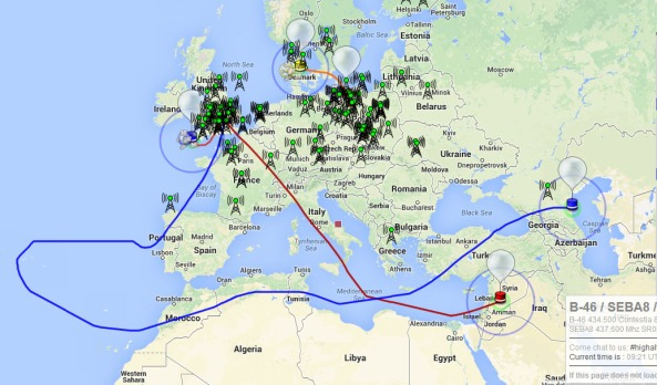 Track of B-44 and B-45 balloons on April 19, 2014