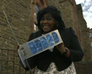 Dr Maggie Aderin-Pocock with CubeSat