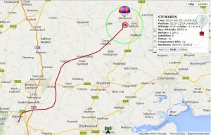 Flight path of M6EDF's balloon STEWARDS on June 3. 2014