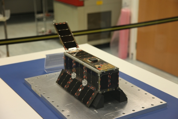UKube-1 in flight configuration in the cleanroom at Clyde Space Ltd - Credit Steve Greenland