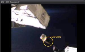 LambdaSat and MicroMAS CubeSats deploying from ISS March 4, 2015