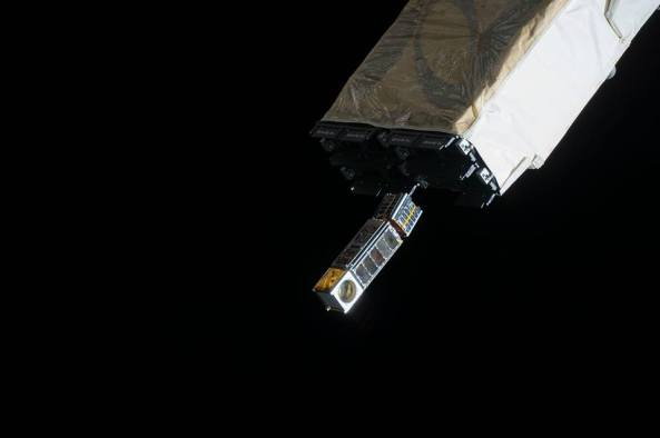 MicroMAS and Lambda-Sat deploying from the ISS on March 4 2015 - Image NASA / NanoRacks